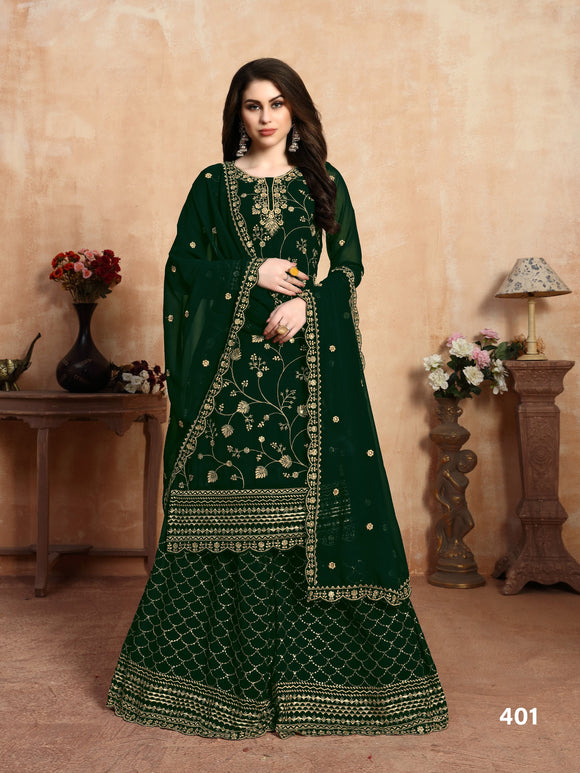 Dark Green Georgette Embroidery Work Plazzo Suits