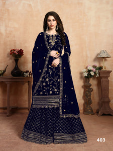 Neavy Blue Plazzo Suit  made of Faux Georgette with Faux Georgette Dupatta - Dani Fashions