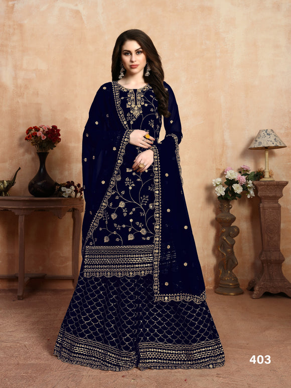 Neavy Blue Georgette Embroidery Work Plazzo Suits