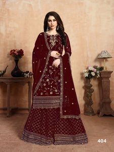 Marron Georgette Embroidery Work Plazzo Suits