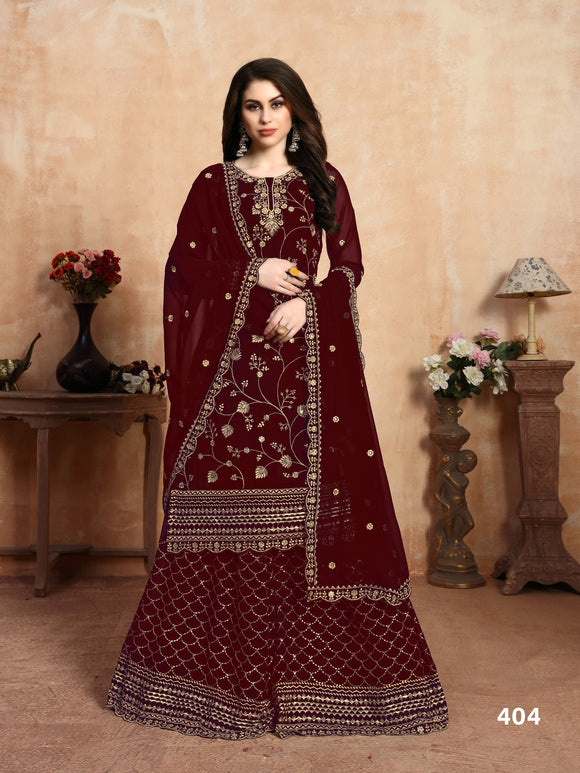 Marron Plazzo Suit  made of Faux Georgette with Faux Georgette Dupatta