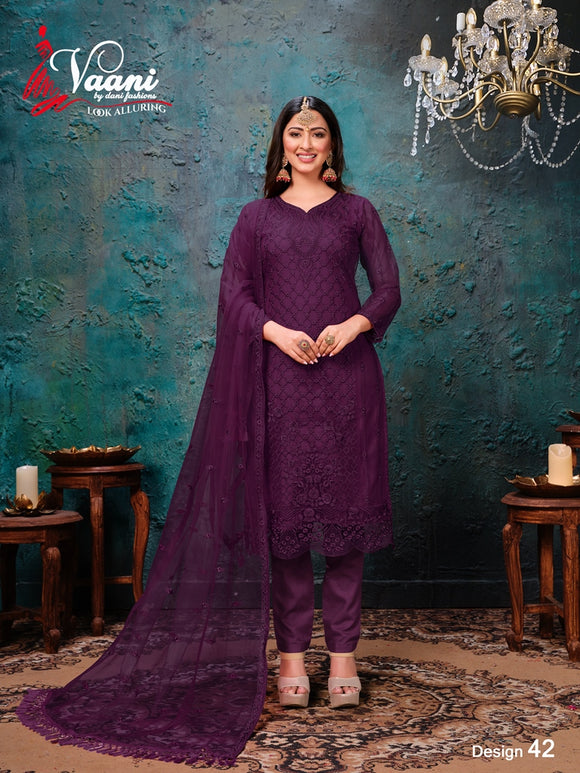 Purple Salwar Suit made of Net with Net Dupatta