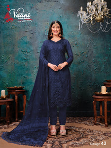 Blue Salwar Suit made of Net with Net Dupatta