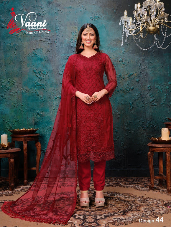 Red Salwar Suit made of Net with Net Dupatta