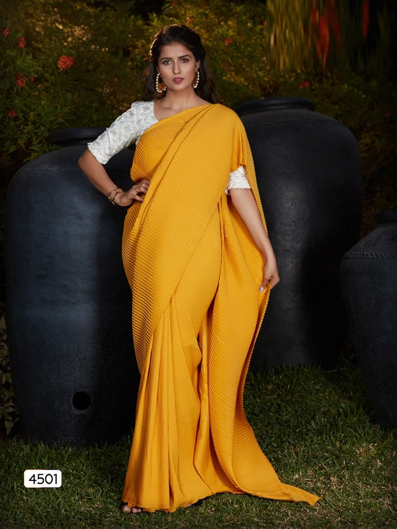 Silk Embroidered Yellow Saree With Contrast Blouse