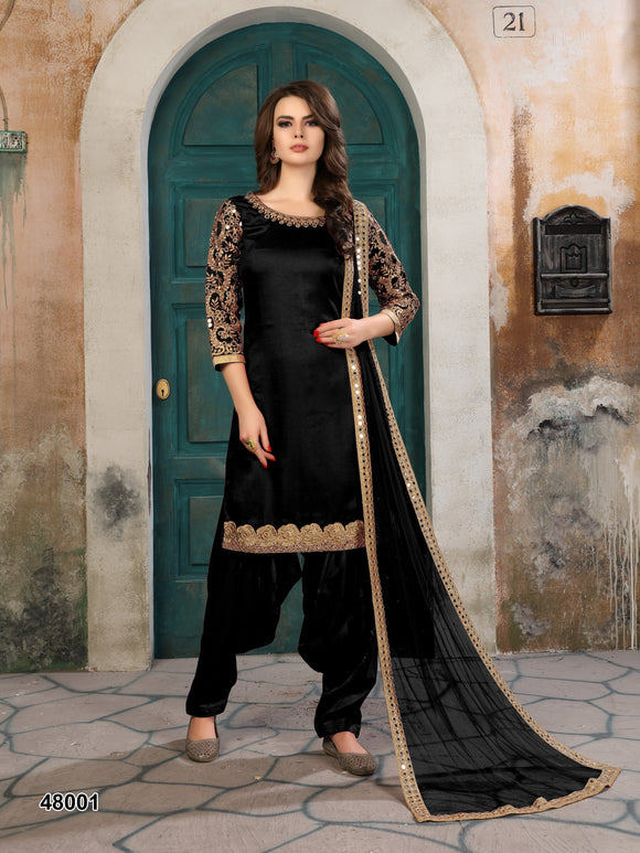 Black Patiala Suit made of Art Silk with Matching Net With Glass Work Dupatta - Dani Fashions