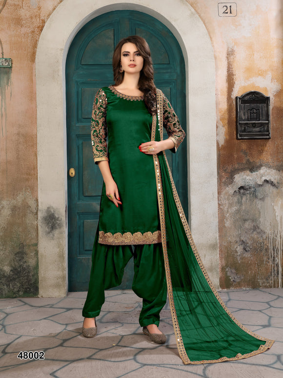 Green Patiala Suit made of Art Silk with Matching Net With Glass Work Dupatta - Dani Fashions