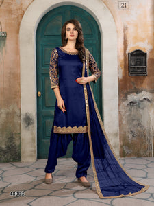 Blue Patiala Suit made of Art Silk with Matching Net With Glass Work Dupatta - Dani Fashions