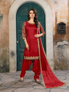 Marron Patiala Suit made of Art Silk with Matching Net With Glass Work Dupatta - Dani Fashions