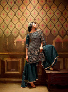Rama Sharara Suit  made of Net with Net Dupatta