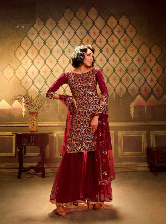 Marron Sharara Suit  made of Net with Net Dupatta