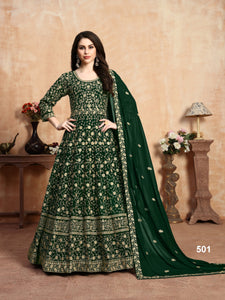 Green Color Faux Georgette Anarkali Suits with Faux Georgette Dupatta - Dani Fashions