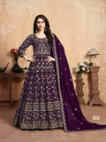 Purple Color Faux Georgette Anarkali Suits with Faux Georgette Dupatta - Dani Fashions