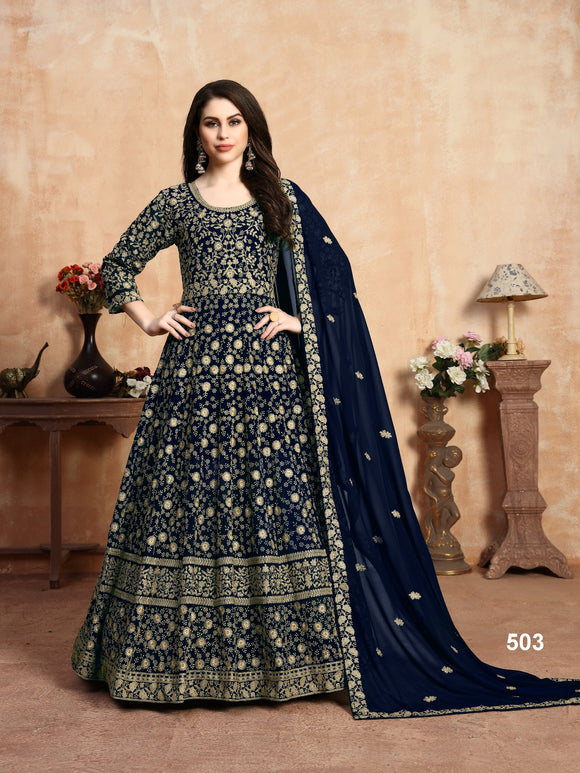 Blue Color Faux Georgette Anarkali Suits with Faux Georgette Dupatta