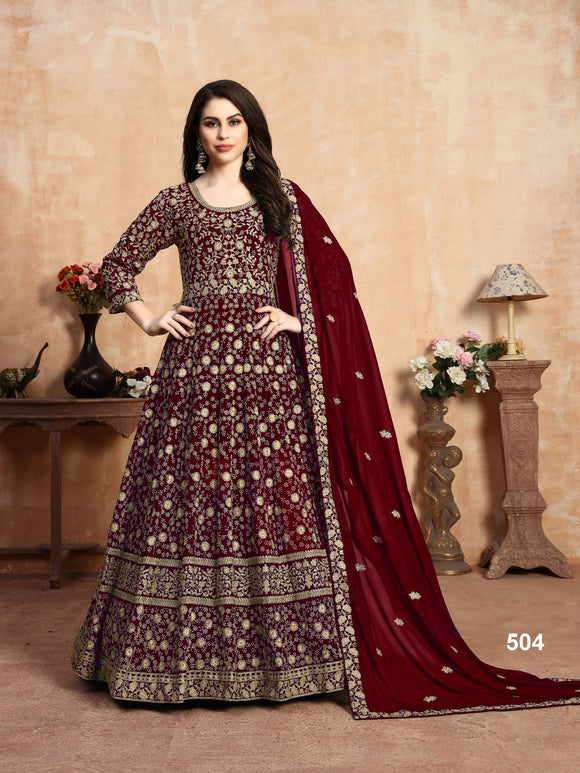 Red Color Faux Georgette Anarkali Suits with Faux Georgette Dupatta - Dani Fashions