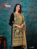 Black Salwar Suit made of Faux Georgette with Net with Heavy work border Dupatta