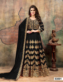 Black Color Faux Gergette Resham work Anarkali Suits with Chifforn Duppatta - Dani Fashions