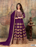 Purple Color Faux Gergette Resham work Anarkali Suits with Chifforn Duppatta