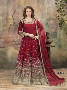 Marron Embroidery Tafeta Floor lenght Anarkali suits