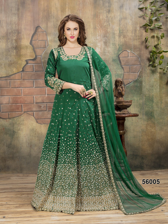 Green Color Tafeta Resham Work,Pearl Moti,Stone Anarkali Suits with Net Duppatta - Dani Fashions