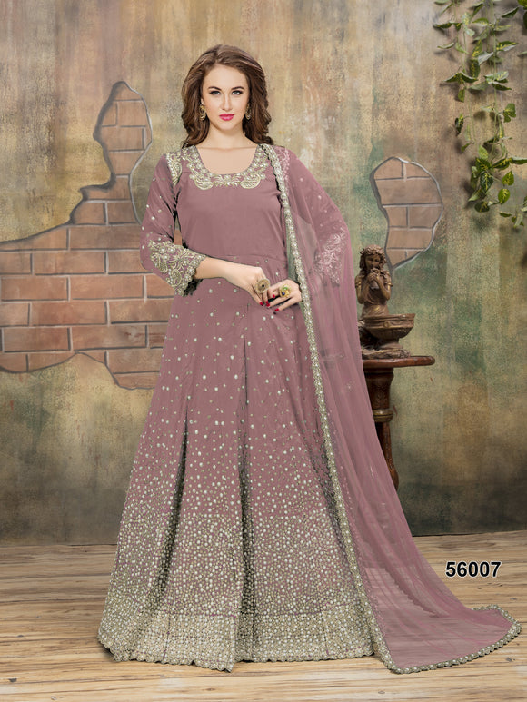 Dusty Pink Color Tafeta Resham Work,Pearl Moti,Stone Anarkali Suits with Net Duppatta - Dani Fashions
