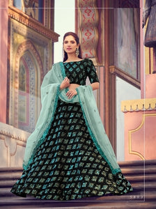 Black Sequins Net Lehenga Choli With Matching Blouse and Net Dupatta