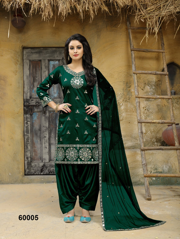 Dark Green Patiala Suit made of Taffeta Silk with Matching Net With Glass Work Dupatta