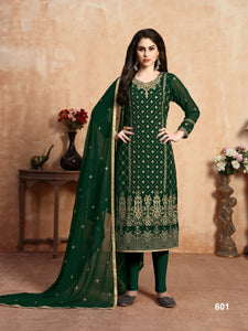 Dark Green Faux Georgette Embroidery work Churidar salwar suit - Dani Fashions