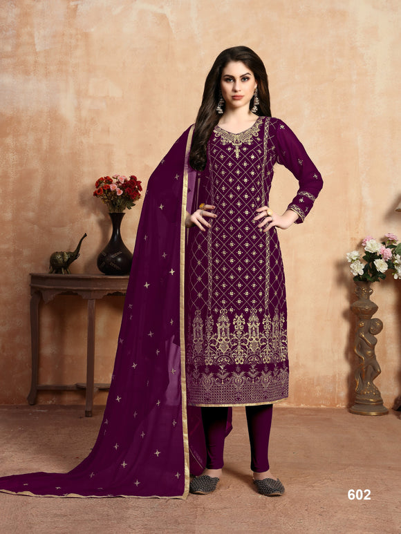 Purple Color Faux Georgette Embroidery work Churidar salwar suit