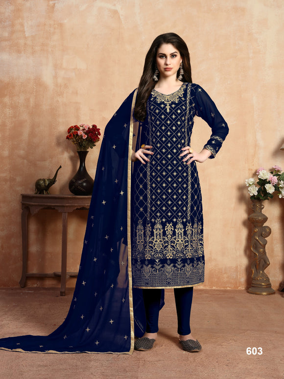 Blue Color Embroidery work Churidar salwar suit - Dani Fashions