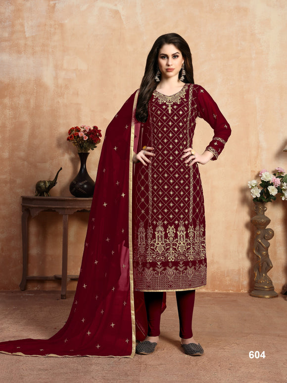 Red Color Faux Georgette Churidar salwar suit