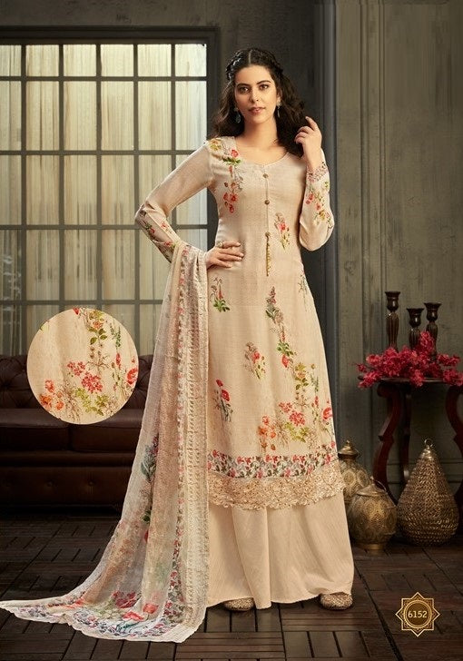 Cream Plazzo Suit  made of Georgette with Chiffon Dupatta