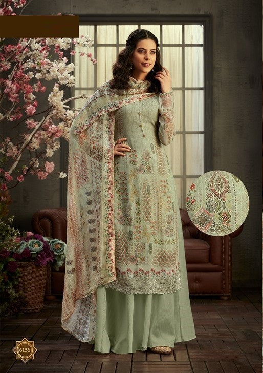 Dusty Green Plazzo Suit  made of Georgette with Chiffon Dupatta