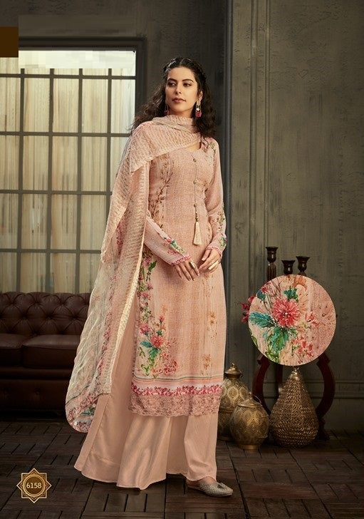 Peach Plazzo Suit  made of Georgette with Chiffon Dupatta