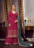 Pink Plazzo Suit  made of Georgette with Chinnon Chiffon Dupatta