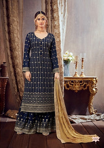 Blue Plazzo Suit  made of Georgette with Chinnon Chiffon Dupatta