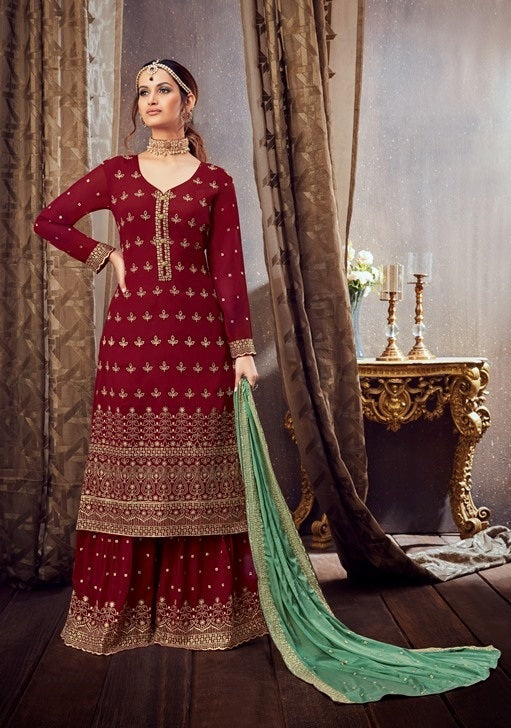 Red Plazzo Suit  made of Georgette with Chinnon Chiffon Dupatta