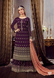 Purple Plazzo Suit  made of Georgette with Chinnon Chiffon Dupatta