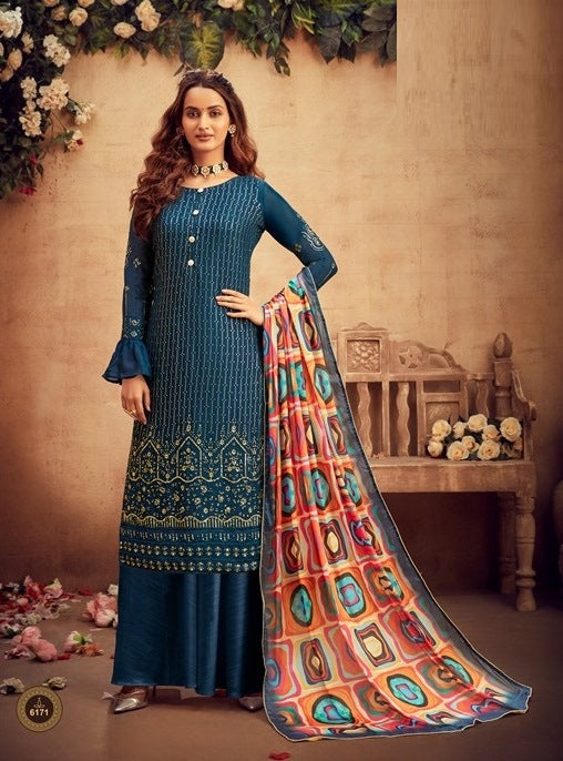 Blue Plazzo Suit  made of Viscose Chinnon Chiffon with Chinnon Chiffon Dupatta