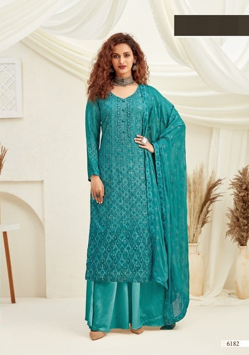 Turquoise Plazzo Suit  made of Viscose with Chinnon Chiffon Dupatta