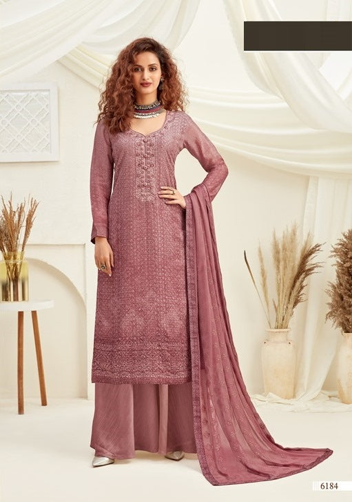 Purple Plazzo Suit  made of Viscose with Chinnon Chiffon Dupatta