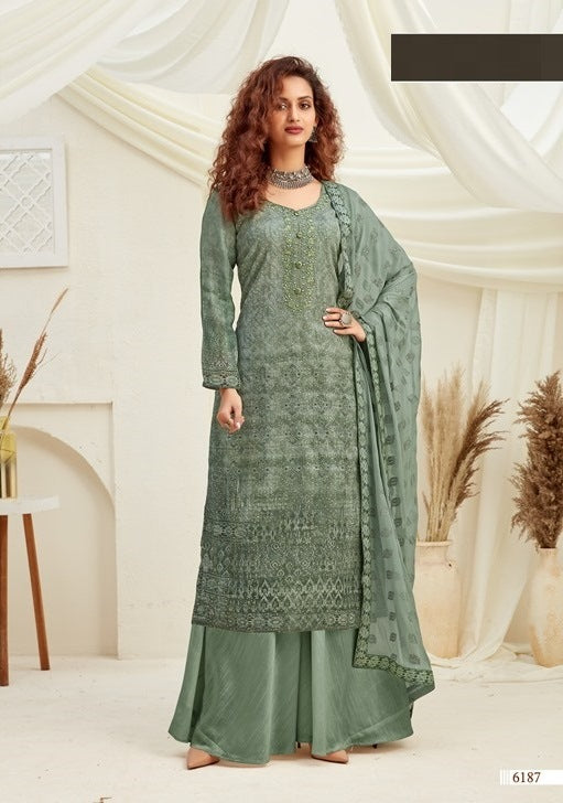 Green Plazzo Suit  made of Viscose with Chinnon Chiffon Dupatta