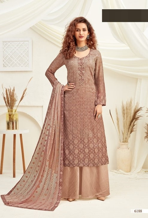 Peach Plazzo Suit  made of Viscose with Chinnon Chiffon Dupatta