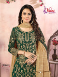 Green Salwar Suit made of Faux Georgette with Jacqaurd Dupatta