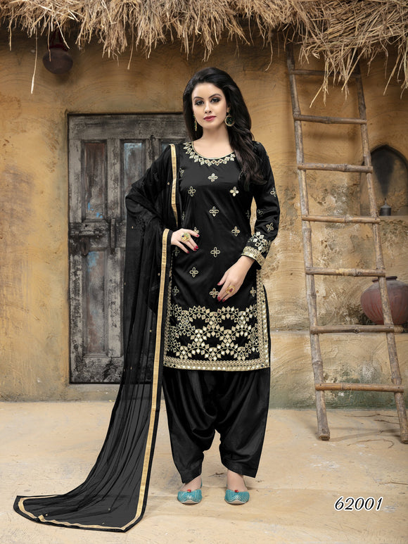 Black Patiala Suit made of Taffeta Silk with Matching Net With Glass Work Dupatta - Dani Fashions