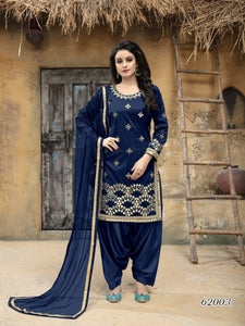 Blue Patiala Suit made of Taffeta Silk with Matching Net With Glass Work Dupatta
