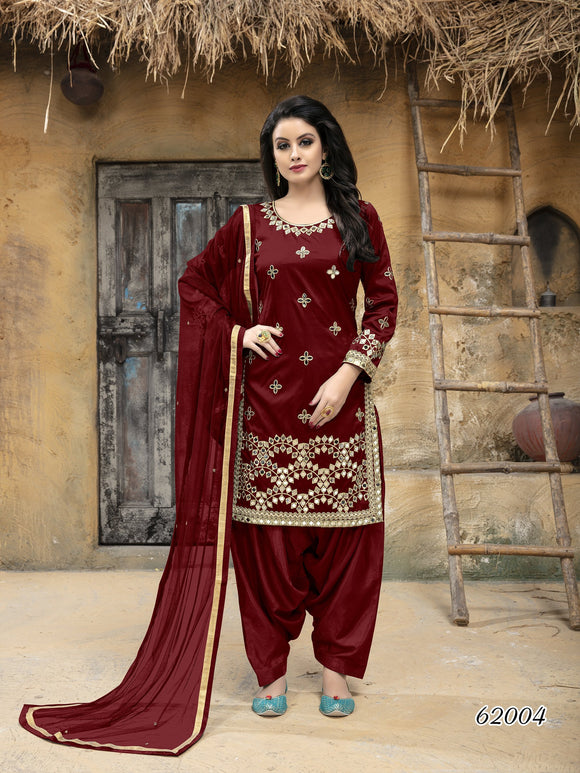 Marron Patiala Suit made of Taffeta Silk with Matching Net With Glass Work Dupatta - Dani Fashions