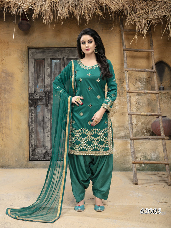 Turquoise Patiala Suit made of Taffeta Silk with Matching Net With Glass Work Dupatta - Dani Fashions