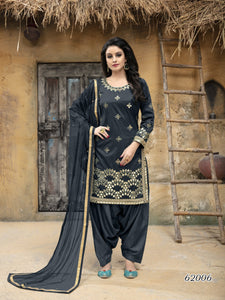 Grey Patiala Suit made of Taffeta Silk with Matching Net With Glass Work Dupatta - Dani Fashions