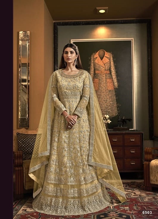 Gold Color Net Anarkali Suits with Net Dupatta